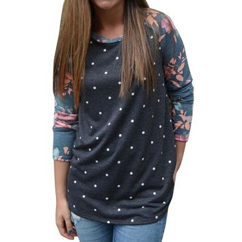 Vintage Polka Dot Printed T Shirt Women's Long Sleeve Floral Shirts Girls Ladies Autumn Casual Loose T-Shirt Tops Cropped #LH