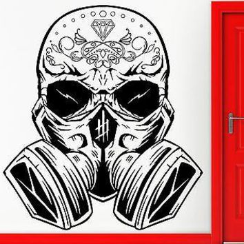 Wall Sticker Vinyl Decal Hippien Skull In Gas Mask Scary Cool Teen  Unique Gift (z2402)