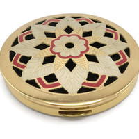 Vintage Wadsworth Gold Plated Brass And Inlaid Enamel Powder Compact