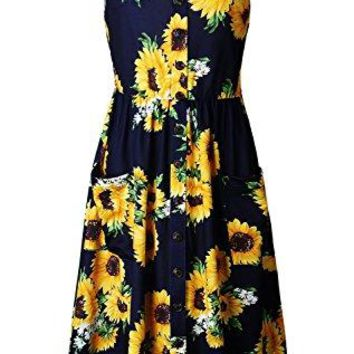 Elsofer Women's Summer Dresses with Pockets Bohemian Sunflower Floral Spaghetti Strap Button Decoration Midi Dress (Navy Blue, S)