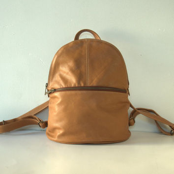 Leather Backpack, Tan Leather Backpack, Leather Rucksack, Cow Hide Backpack, School Backpack, Soft Leather Bag, Traveller Bag, Causal
