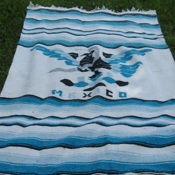 Vintage Serape Blanket Rug cotton Mexican / Blue and White Thunderbird  Phoenix with fringe
