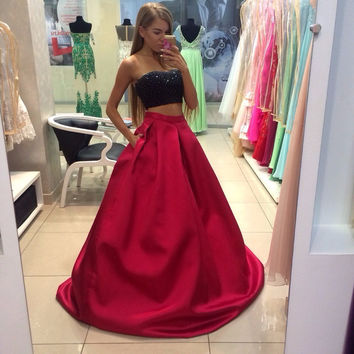 Beading Black Two Pieces Long Red Elegant Prom Dress Homeco