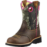 Ariat Youth Fatbaby Boots, Rough Brown and Mossy Oak Camo - 10008724