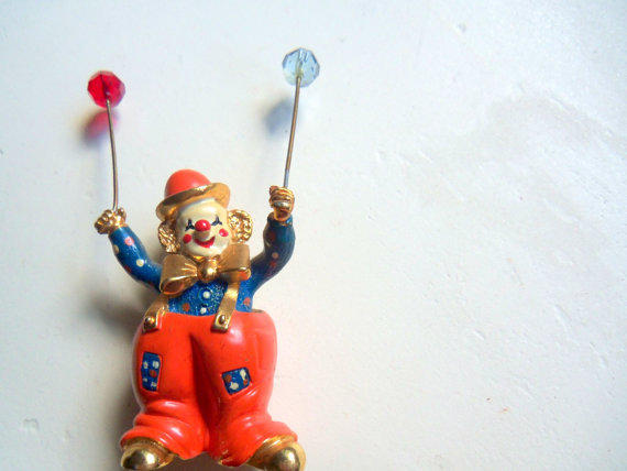 Vintage Spoontiques Pewter Clown with Balloons 1987