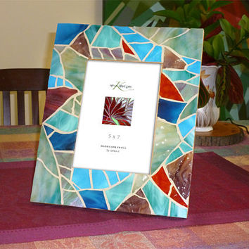 Beach Glass Mosaic Photo Frame, 5x7 Turquoise Mosaic Picture Frame, Nautical Photo Frame