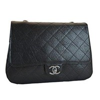 Chanel Black Leather Silver Chain Bag