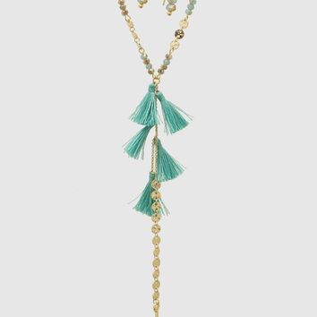 Thread Tassels Glass Beads Long Necklace Set