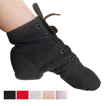 High Top Desinger Canvas Jazz Shoes/Ballet Dance Shoes/Split Heels Sole Shoe Black/Red/White Men Women Boys Girls