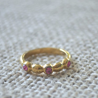Vintage Ring, Pink Topaz Stone, Gold tone, 1970s Ring