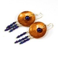 Hand Hammered Copper Earrings 14K Gold Filled Wires Czech Glass Beads