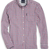 Sperry Top-Sider Gingham Button Down Shirt Red/White/Blue, Size XXL  Men's