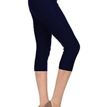 Leggings Depot Premium Quality Jeggings Regular and Plus Soft Cotton Blend Stretch Solid Fitted Capri Pants wPockets