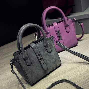 Fashion Stylish Matte Tote Bag Simple Design One Shoulder Bags Lock [6582581639]