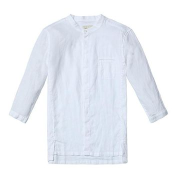 Summer New Casual Shirts Men Breathable 100% Pure Linen Fashiom  Three Quarter Slim Fit Brand Clothing