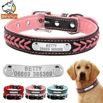 Customized Dog Collars Adjustable Padded Leather Personalized Pet Name ID Collar Free Engraving For Small Medium Large Dogs Cats