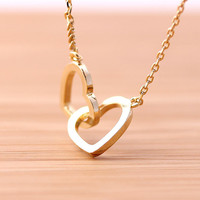 crossed OPEN HEART, never apart necklace, 2colors | girlsluv.it