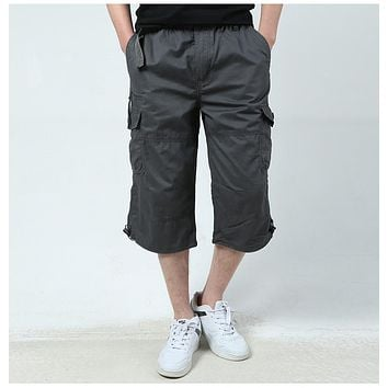 Summer Men's Baggy Multi Pocket Military Zipper Cargo Shorts breeches Male Long Army Green Khaki Mens Tactical Short Plus Size