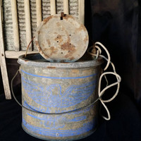 Farmland Decor Minnow Pail, Rustic Old Galvanized Minnow Bucket, Vintage Fishing Memorabilia,  Vintage & Collectible Yard Art, Designer Art