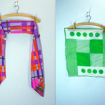 retro scarf set of two 1960s neon polka dot scarves vintage mod