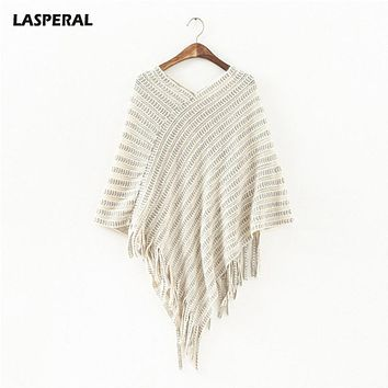 LASPERAL Batwing Sleeve Tassel Hem Knitting Cloak Sweater 2017 Women V Neck Fashion Loose Poncho Autumn Winter Sweater Jumper