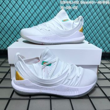 HCXX B301 Under Armour Curry 5 Actual Combat Basketball Shoes White