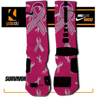 SURVIVOR Custom Nike Elite Socks basketball pink ribbon breast cancer awareness be strong