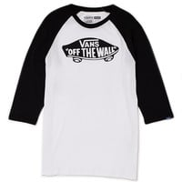 Vans Long Sleeve Raglan T Shirt with Logo Print White/Black