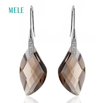 MELE Natural smoky quarts silver earring, special shape 14mm*26mm, all clean quality, women fashion jewelry