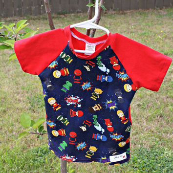 Super hero Raglan T-shirt 2T, toddler clothing, red shirt