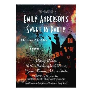 Halloween Haunted House Costume Sweet 16 Birthday 5x7 Paper Invitation Card