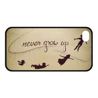 Peter Pan Shadow Together NEVER GROW UP Unique Apple Iphone 4 4S Durable Hard Plastic Case Cover CustomDIY