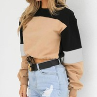 Casual cropped patchwork sweater
