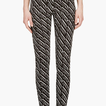 Kenzo Black And White Printed Cropped Jeans