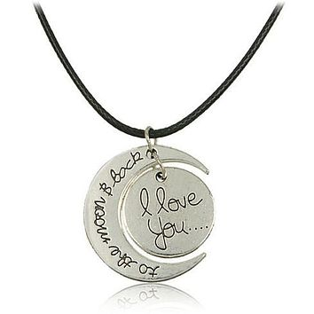 Love To The Moon Silver Necklace