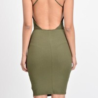 Double lined ribbed body con dress with open back