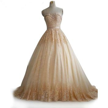 Ball gown wedding dress Bride Dress lace bridal gown off the shoulder