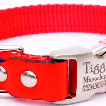 "Dog Collar: Nylon & Ribbon - 5/8"" Wide - Personalized - Orange and Blue"