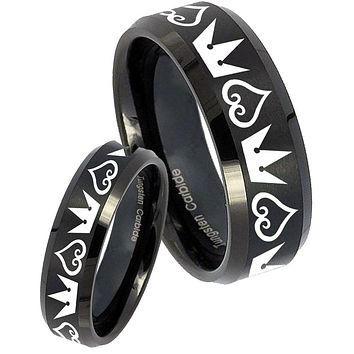 His Her Black Brush Beveled Hearts and Crowns Tungsten Carbide Wedding Rings Set
