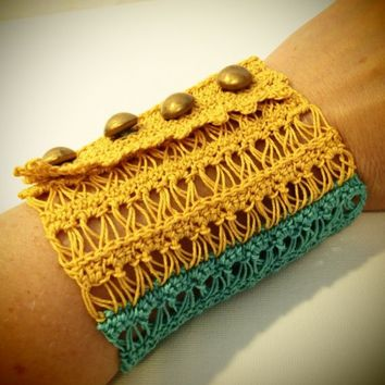 Lace Color Block Gold and Aquamarine Crochet Wrist Cuff