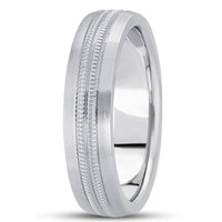 14K Gold Mens Fancy Milgrain Wedding Band (7mm)