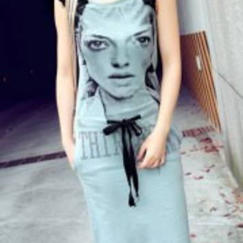 Portrait Print Cotton Street Style Scoop Collar Sleeveless Women's Dress