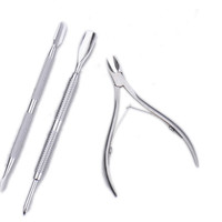 3 pcs/set Gold Stainless Steel Cuticle Scissors Nail Manicure Pedicure Tools Scissors kits Double Dead Skin Fork