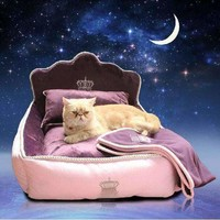 Luxury Princess Pet Bed With Pillow Blanket Dog Bed Cat Bed Pad Sofa Dog House Nest Sleep Cushion Kennel Mascot Free Delivery