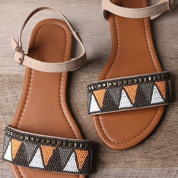 Tribal Beaded Ankle Strap Flat Sandal