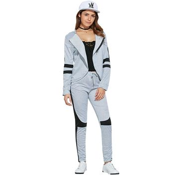 Casual Hooded Color Block Two Piece Sport Set for Women