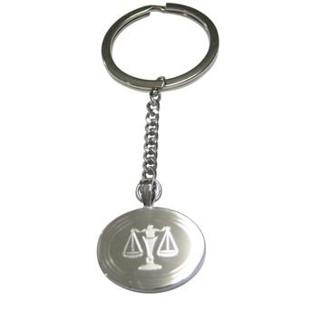 Silver Toned Etched Oval Scale of Justice Law Pendant Keychain