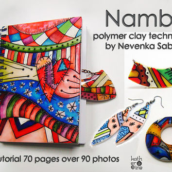Polymer clay tutorial, PDF tutorial, Nambi technique, Original tutorial, Colorful jewelry, DIY craft idea, Step by step instructions,