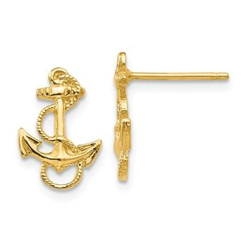 14K Yellow Gold Anchor With Rope Trim Post Earrings