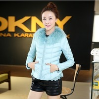 Women : Zip Down Jacket Duck Feather Padded Crocheted Waist YRB0410